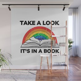 take a look it's in a  book vintage retro cool  rainbow colors reading lovers  distressed colorful cute design for  boys or girls men and women Wall Mural