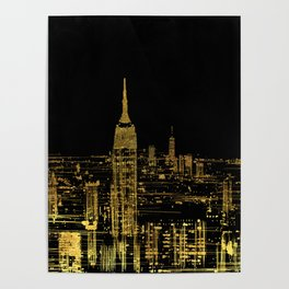 Abstract Gold City  Skyline Design Poster