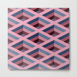 SQUARE HOLES / pale pink / marine blue / ancient pink / violet dark Metal Print