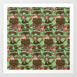 Tiki Tropics - Brown and Green Art Print