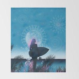 blue summer Throw Blanket