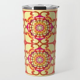 World Citizen Mandala Tiled - Red Yellow Travel Mug
