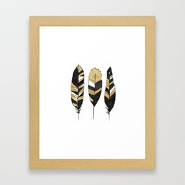 Gold Black Abstract Feathers Framed Art Print