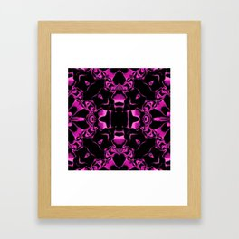 Shocking Pink and Black Kaleidoscope Pattern Framed Art Print