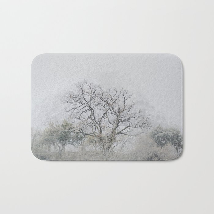 """""""King of the Mountain"""". Foggy and snowy mountain. Bath Mat"""