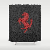 ferrari Shower Curtains featuring Homage to Ferrari by Giovanni Fontana
