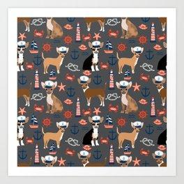 Chihuahua nautical sailor dog pet portraits dog costumes dog breed pattern custom gifts Art Print