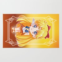 sailor venus Area & Throw Rugs featuring Chibi Sailor Venus by Neo Crystal Tokyo