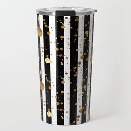 Stripes & Gold Splatter Travel Mug