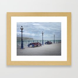 Lamps And Benches On Swanage Pier Framed Art Print