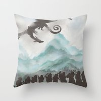 smaug Throw Pillows featuring The Desolation of Smaug by JadeJonesArt