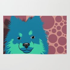 Olie the Pomeranian in Blue Rug