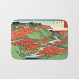 Hiroshige Temple & Mountains Bath Mat