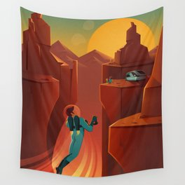 DISCOVER MARS - Valles Marineris | Space | X | Canyon | Retro | Vintage | Futurism | Sci-Fi Wall Tapestry