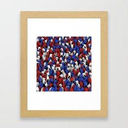 Red blue white hockey players Framed Art Print