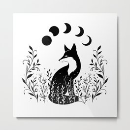 Fox on the Hill - Black and White Metal Print