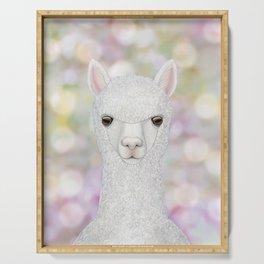 Alpaca farm animal portrait Serving Tray