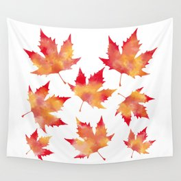 Maple leaves white Wall Tapestry