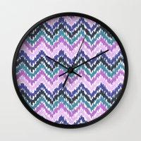 ikat Wall Clocks featuring Ikat Chevron by Noonday Design