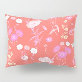 Living Coral Floral Pattern Pillow Sham