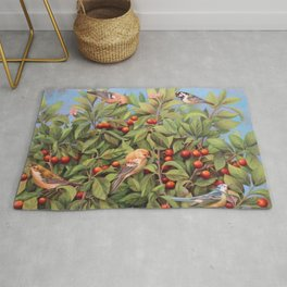 Birds Gathered on a Cherry Tree Rug