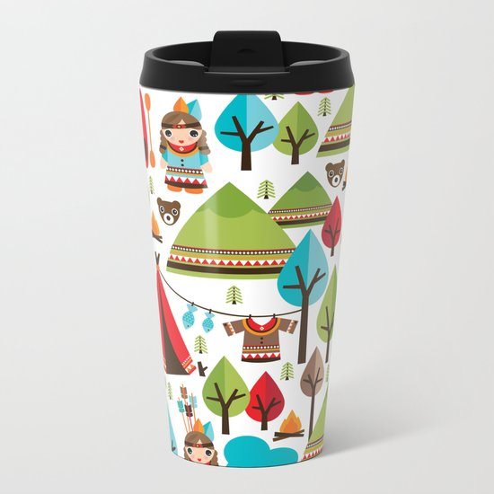 Cute indian haunting illustration pattern Metal Travel Mug