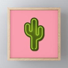 Neon Cactus 3D Hipster Art Framed Mini Art Print