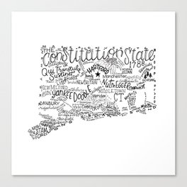 Connecticut - Hand Lettered Map Canvas Print