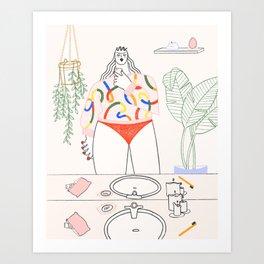 A cute bathroom Art Print
