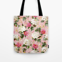 Vintage green pink white bohemian hortensia flowers Tote Bag
