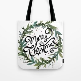 Merry Christmas Wreath Tote Bag