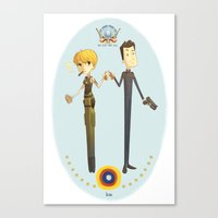 battlestar Canvas Prints featuring Battlestar couple by Annalisa Leoni
