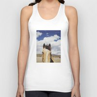 horse Tank Tops featuring Cloudy Horse Head by Kevin Russ
