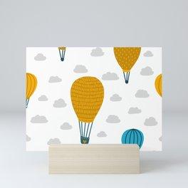 Cute hot air balloon scandinavian style hand drawn illustration pattern Mini Art Print