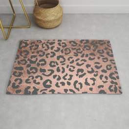 Modern charcoal grey rose gold leopard pattern Rug