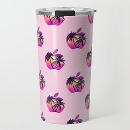 Apple retrowave logo pattern Travel Mug