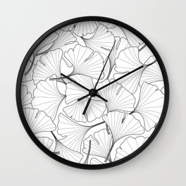 ginkgo leaves (white) Wall Clock