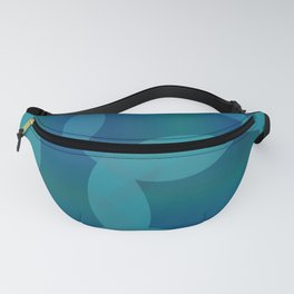 Abstract soap of blue molecules and bubbles on a water background. Fanny Pack