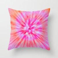 tye dye Throw Pillows featuring TIE DYE by Nika