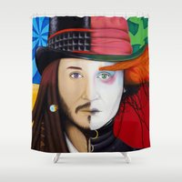 johnny depp Shower Curtains featuring Face It Johnny by Shawn Stomp