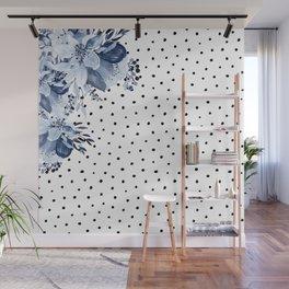 Boho Blue Flowers and Polka Dots Wall Mural