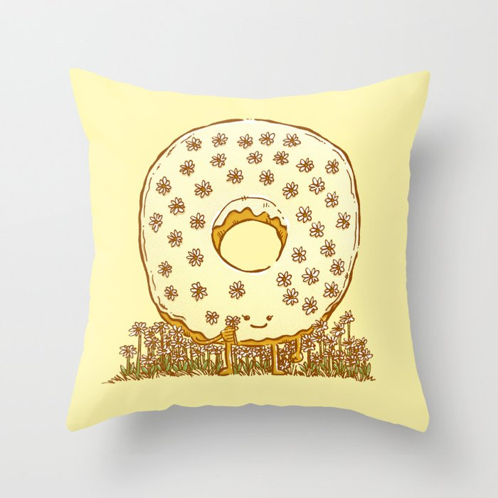In Bloom Donut Throw Pillow