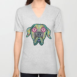 Great Dane with Floppy Ears - Day of the Dead Sugar Skull Dog Unisex V-Neck
