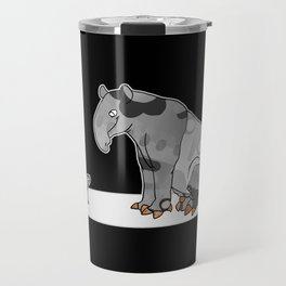 Tapir meets Turtle, Cute Animal Illustration, Black & White with Copper Metallic Accent Funny Turtle Travel Mug