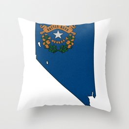 Nevada Map with State Flag Throw Pillow