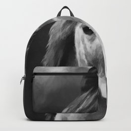 Watercolor Horse Portrait (Black and White) Backpack
