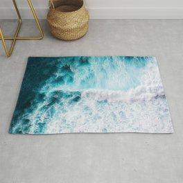 Blue Ocean Waves Foam Hawaiian Beach Warm Summer Water Wave Rug