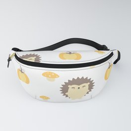 cute fall autumn pattern with hedgehogs, pumpkins and mushrooms Fanny Pack