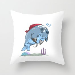 Pirate Manatee Funny Sea Cow Lover Throw Pillow