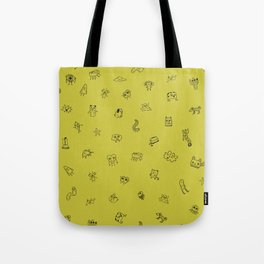 Yellow Monster Pattern Tote Bag